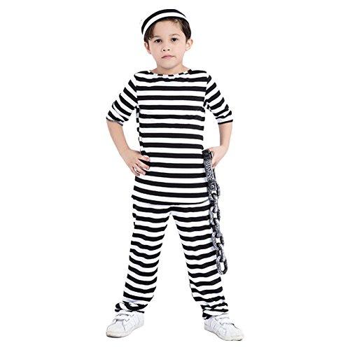 Kids Halloween Striped Prisoner Costume,Large - Striped Prisoner