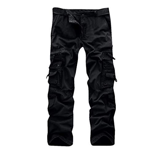 OrchidAmor Men's Casual Pleated Multi Zipper Pockets Mid Waist Solid Loose Long Pants Black