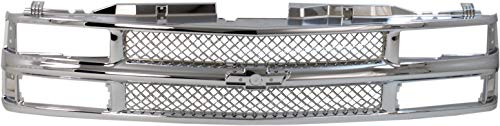 Grille Assembly Compatible with CHEVROLET C/K FULL SIZE P/U 1994-2000/SUBURBAN 1994-1999 Mesh Insert All Chrome with Dual/Composite HL