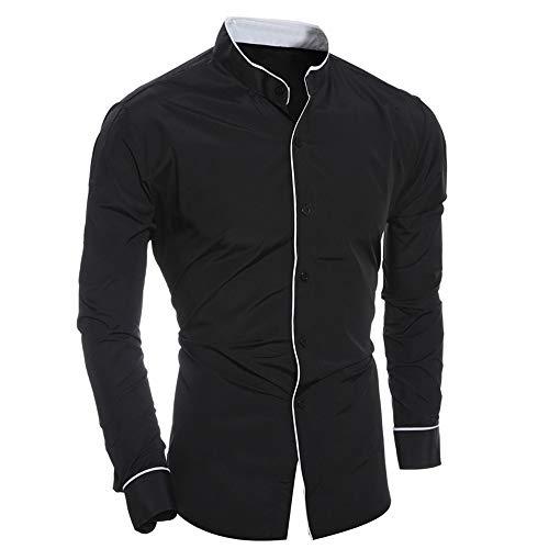 Sunhusing Gentlemen Fashion Personality Casual Slim Long-Sleeve Shirt Lapel Button-Down Top Blouse ()