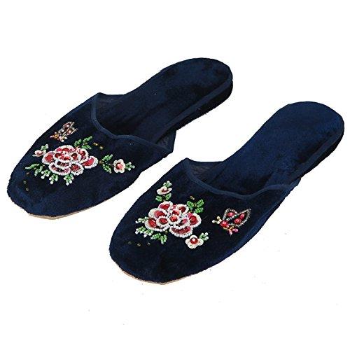 Floral Chinese Women's Velvet Slippers Blue Red Black New (41/US 9, Blue) ()