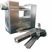 Takestop® - Candado de acero templado blindado de 94mm, cerrojo antiladrones para puerta con 4llaves