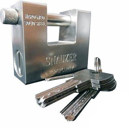 takestop® Vorhängeschloss aus Stahl 94mm gehärtetem Gepanzerten bruchsicheres Riegel für Tor mit 4Schlüssel MOON 1003191