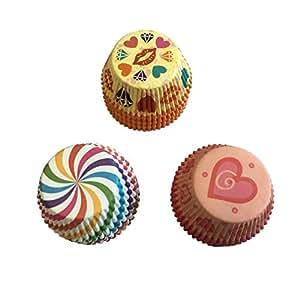 Jiuhong 300 Count Bright Standard Paper Baking Cups Cupcake Liners,3 Beautiful Colors