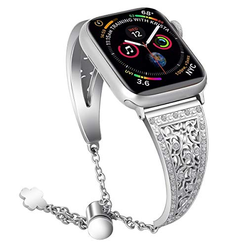 (oceBeec Bling Bands Compatible with Apple Watch Band 42mm 44mm, Women Stainless Steel Metal Jewelry Bracelet Bangle Wristband for Iwatch Series 4/3/2/1 (Silver-42mm/44mm))