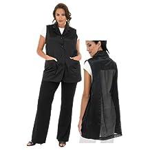 A Size Above Plus Size Women's Stylist Vest, Mesh Vent in Back, Black, 3X