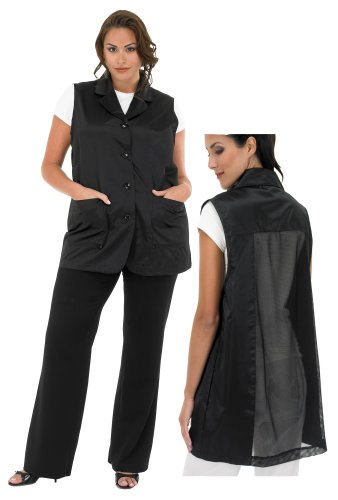 A Size Above Plus Size Vented Mesh Back Salon Stylist Vest, 3X