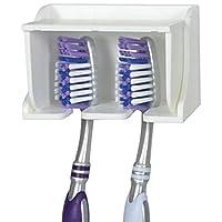 Camco A Pop-A-Toothbrush - Soporte para montaje en pared con cubierta protectora contra gérmenes, perfecto para viajes, dormitorios y más, tiene 2 cepillos de dientes (blanco) (57203)