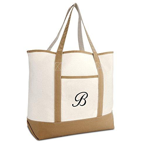 DALIX Women's Natural Tote Bag Shoulder Bags Brown With Monogram Letter B