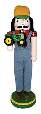 "Santa's Workshop 70892 Farmer with Green Tractor Nutcracker, 14"""