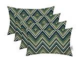 RSH Décor Set of 4 Indoor Outdoor Decorative Rectangle Jumbo (26'' x 16'') Lumbar Throw Pillows Sunbrella Fischer Lagoon