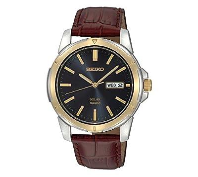 Seiko Men's Two-Tone Leather Strap Blue Dial Solar Watch from Seiko