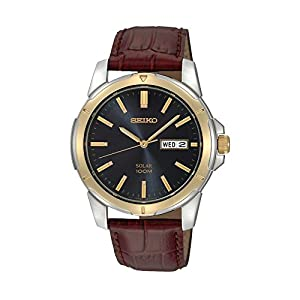 Seiko Men's Two-Tone Leather Strap Blue Dial Solar Watch