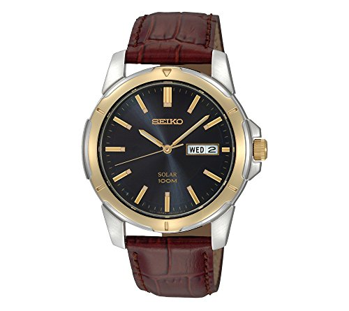 Seiko-Mens-Two-Tone-Leather-Strap-Blue-Dial-Solar-Watch
