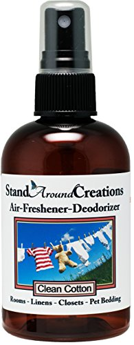 Concentrated Spray For Room / Linen / Room Deodorizer / Air Freshener - 4 fl oz - Scent - Clean Cotton: Nostalgic aroma of fresh linens dried on a fresh breezy day. The top is bright with lemon, lime, green apple and clean ozone. The middle blends cedar, jasmine, lavender and lily. The base is a soft violet, lavender and musk.