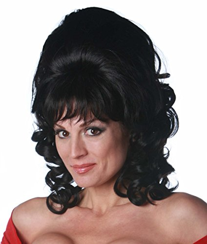 Premium Quality 1960's Beehive with Curls - Black -