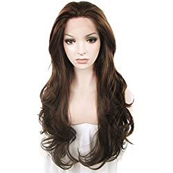 IMSTYLE Lace Front Wigs Natural Brown Wigs For Women Synthetic Long Wave Heat Resistant Synthetic Hair Costume Wigs 26inch