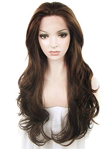 (IMSTYLE Lace Front Wigs Natural Brown Wigs For Women Synthetic Long Wave Heat Resistant Synthetic Hair Costume Wigs 26inch)