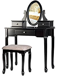 Merax Vanity Table Set With Stool Dressing Table Set Solid Makeup Table  With 3 Drawers And