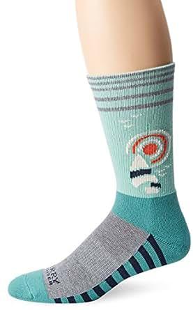 SPERRY Men's Retro Sail Stripe Crew Sock, Charcoal Heather, 10-13/Shoe Size 6-12
