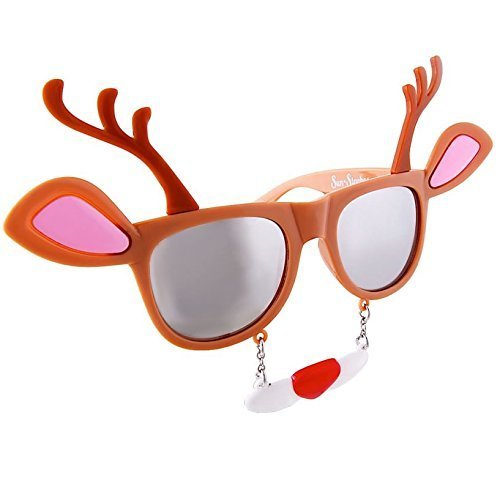 Sunstaches Holiday Reindeer Clear Lens Sunglasses, Instant Costume, Party Favors, -
