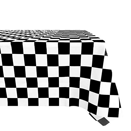 (Salsell 3-Pack Black and White Checkered Plastic Tablecloth 54