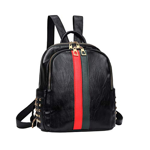 Mynos Backpack Bag Women Mini Rucksack Travel Daypack Backpack Leather Bag Ladies Purse And Handbags (A-Small Black (red and ()