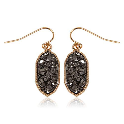 RIAH FASHION Lightweight Acrylic Stone Druzy Crystal Oval Drop Earrings - Sparkly Geometric Polygon Hook Dangles Hexagon, Decagon (Decagon - Hematite)
