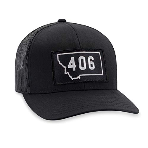 Montana Hat - 406 Trucker Hat Baseball Cap Snapback Golf Hat (Black)