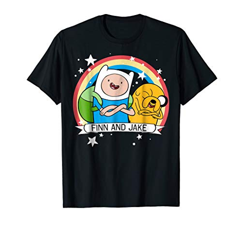 - CN Adventure Time Finn & Jake Rainbow Banner Graphic T-Shirt