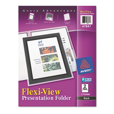 - Avery Products - Avery - Flexi-View Two-Pocket Polypropylene Folder, Translucent Black, 2/Pack - Sold As 1 Pack - A window view to a high-quality presentation. - Framed title page for a custom look. - Holds business card, keeping contact information at hand.
