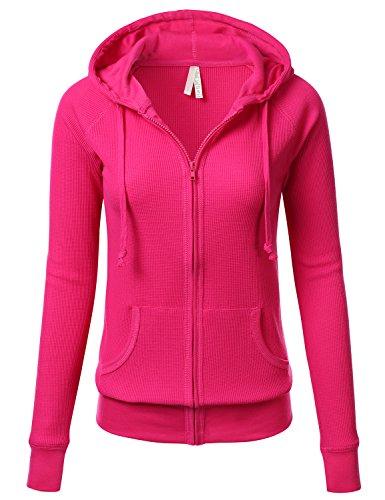 FLORIA Women Versatile Lightweight Thermal Knitted Full Zip-Up Hoodie Jacket FUCHSIA - Size Caliber Chart