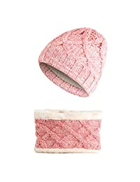 Scarf Hat Sets,Children 3-8 Years Old Winter Keep Warm Simple Beanies Cap Scarf,More Colors (Color : Pink)