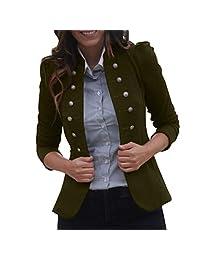 Zainafacai Women's Open Front Work Vintage Pockets Blazer Casual Buttons Jacket Suit Cardigan Coat Overcoat Outwear