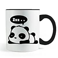 Cute Sleeping Dreaming Panda Mug- Black Handled Coffee and Tea Mug
