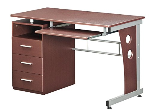 amazon com computer desk with ample storage color chocolate