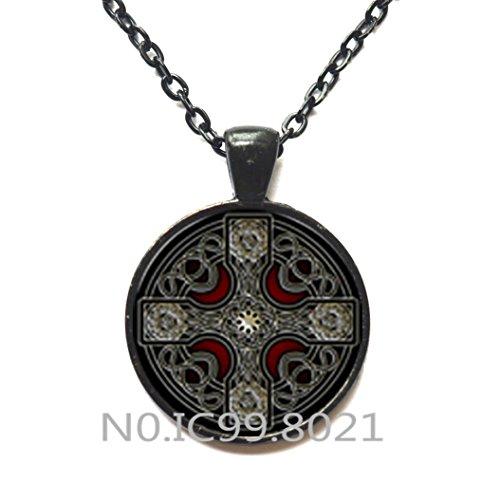 FashionNecklaceFashionPendant,charming Style Celtic Cross Glass Dome Pendant Necklace Women Alloy Glass Statement NecklaceS Men Male Necklace,Q0216