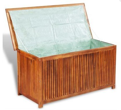 SKB Family Box Storage Deck Acacia Wood Outdoor Patio Bench Garden Pool Container Bin Seat Furniture Chest Weather by SKB family