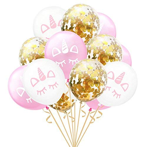 Unicorn Summer Birthday Party Wedding Decoration - Unicorn Balloons & Gold Confetti Balloons 15Pcs