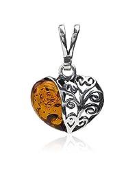 Sterling Silver Amber Heart Pendant