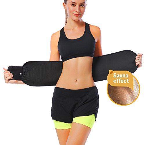 Exercise Trainer (DANLOTE Waist Trimmer Belt Weight Loss Waist Cincher Trainer with Sauna Suit Effect-Best Sweat Enhancer Fat Burner for Women&men (Black, S))