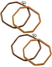 Rfvtgb 2 Packs Embroidery Hoops Cross Stitch Embroidery Octagon Set for Handy Art Craft Sewing Photo Frame - Imitated Wood