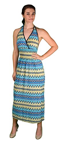 Peach Couture Bohemian Chevron Pattern V Neck Smocked Waist Halter Maxi Dress – Medium, Light Blue
