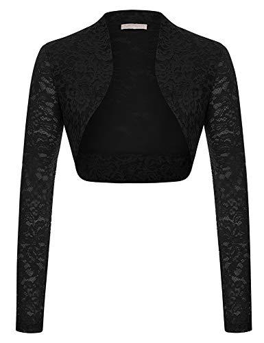 Plus Size Bolero Shrug Long Sleeve Cropped Shrugs (Black,3XL)
