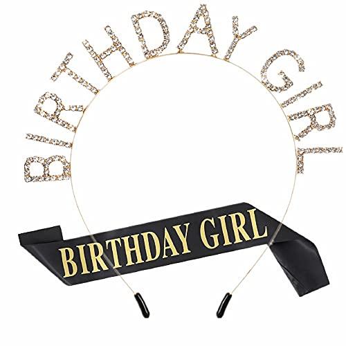 Birthday Girl Sash & Crowns Headband Gifts Party Decorations Supplies Gold Rhinestone Crystal Princess Hair Tiara Band Hoop