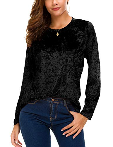 Women's Vintage Velvet T-Shirt Casual Long Sleeve Top (L, Black) (Velvet Black Blazer Vintage Jacket)