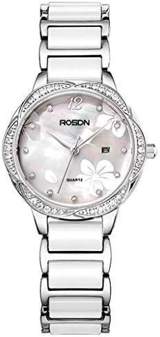 ファッションレディクォーツ腕時計クリスタルバングル、フラワーシェル女性の時計フェイスパールセラミック時計バンド、フォールドオーバークラスプストラップ、ボーイフレンドギフト (色 : シルバー しるば゜)