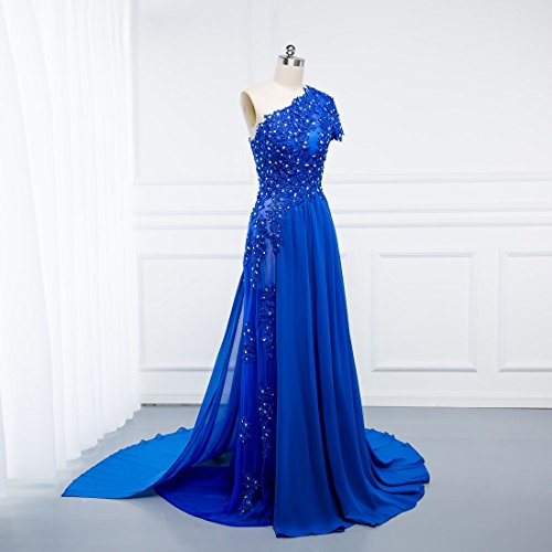 Beauty-Emily Evening Dresses Womens Sexy One Shoulder Long Royal Blue Lace Chiffon Short Sleeve Dresses with Split: Amazon.co.uk: Clothing
