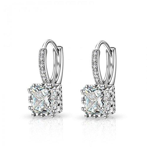 Boucles d'oreilles anneaux carré couronne oxyde de zirconium argent 925