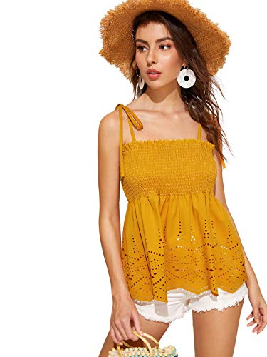SheIn Women's Frill Tie Shoulder Strappy Ruffle Hem Pleated Bandeau Tube Cami Top Blouse Large Ginger#2